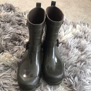 Coach army green rain boots